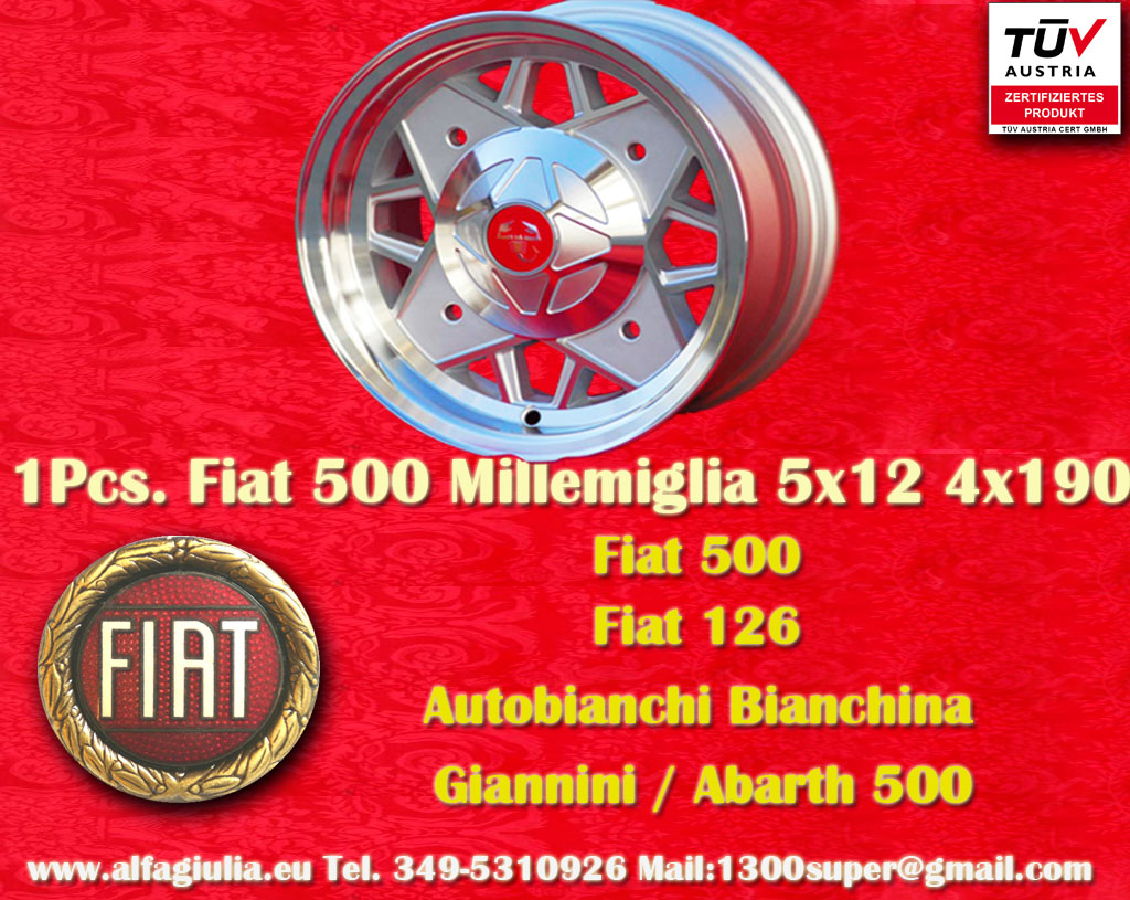 Autobianchi Millemiglia Bianchina Berlina Cabriolet Coupe Kombi  5x12 ET20 4x190 c/b N/A Wheel
