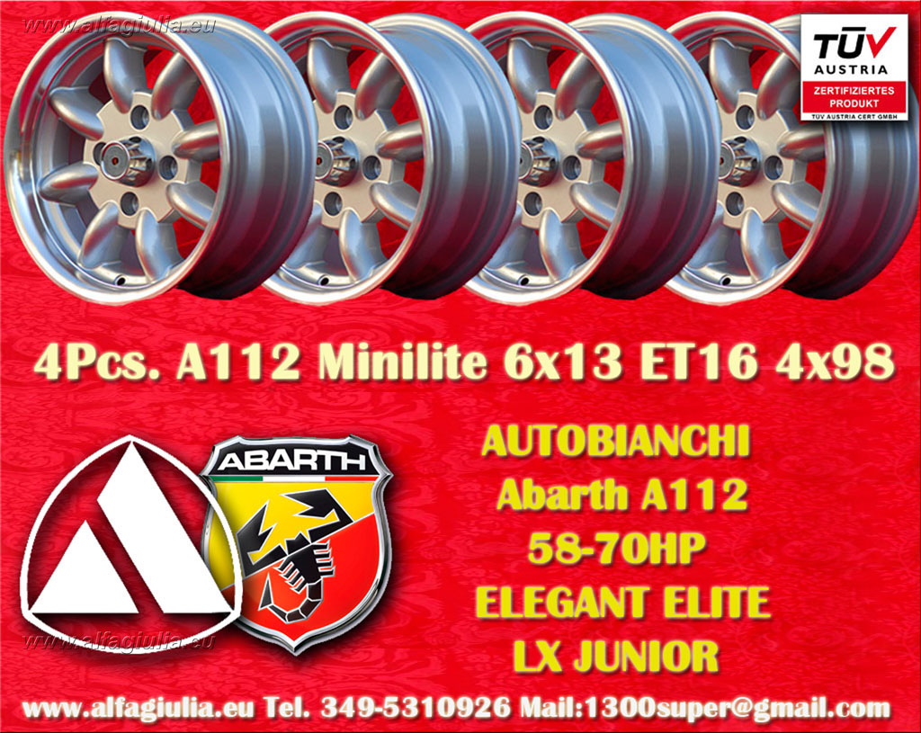 Autobianchi Minilite A112 58/70HP ELEGANT ELITE LX JUNIOR  6x13 ET13 4x98 c/b 58.6 mm Wheel