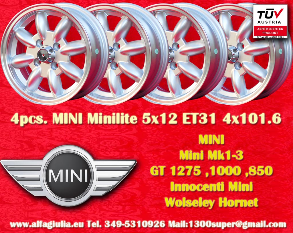 Mini Minilite Mini Mk1-3 850 1000 1275 GT Riley Elf Wolseley Hornet  5x12 ET31 4x101.6 c/b 65.1 mm Wheel